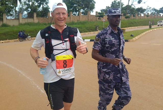 Steve Hill pictured competing in the Uganda Marathon earlier this year