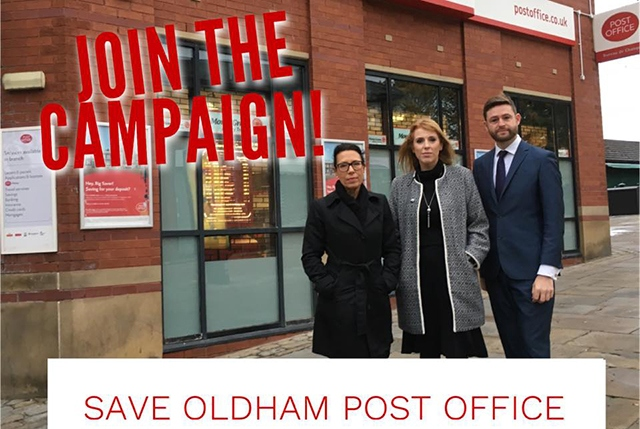 Pictured with fellow MPs Debbie Abrahams and Angela Rayner outside Oldham Post Office