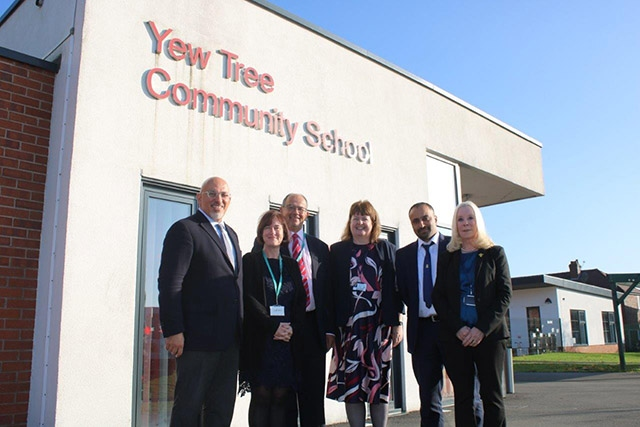 Nadhim Zahawi MP, Minister for Children and Families, is pictured (far left), with Helen Lockwood (Deputy Chief Executive – People and Place, Oldham Council), Cllr Paul Jacques (Cabinet Member for Education, Oldham Council), Sally Brown (Head of School at Mather Street Primary School), Rais Bhatti (Head of School at Yew Tree Community School) and Martine Buckley (Executive Head of MY Schools Together)