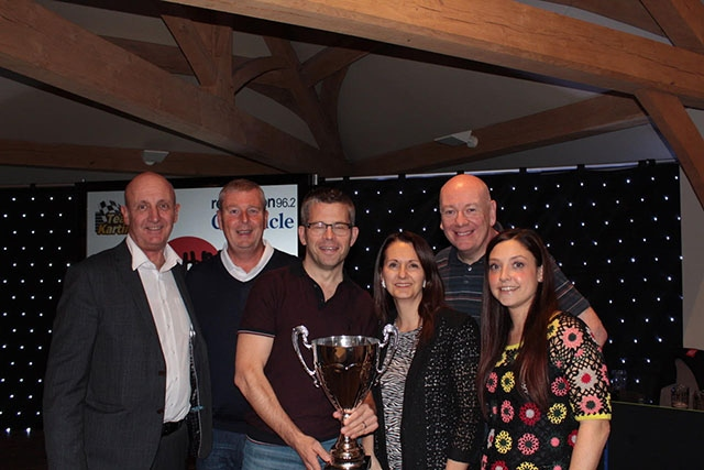 Pictured with Dave Whaley (far left) and Steve Kilroy are the Corporate quiz winners Physio Matters – from third left, Jane Tonge, Ian Townsend, Katy Parrott and Colin Green