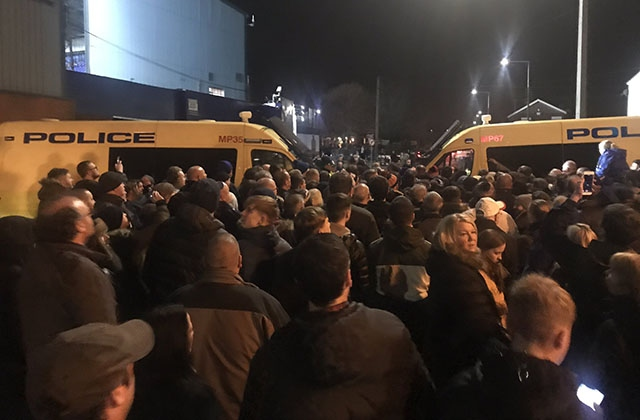 The scene outside Prenton Park on Saturday evening.