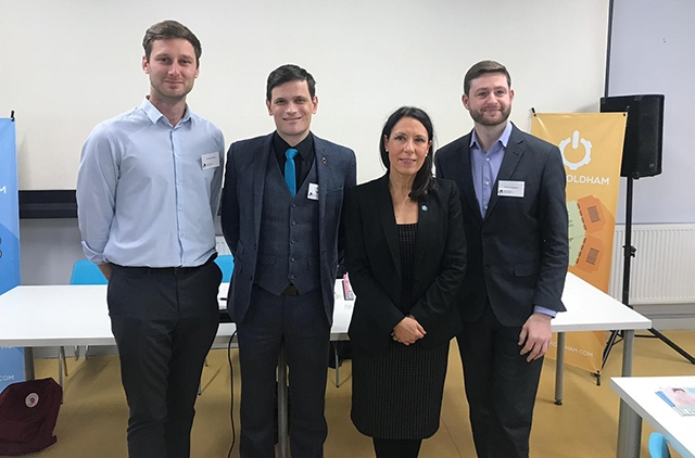 Pictured are Sean Fielding, Craig Dean, Debbie Abrahams and Jim McMahon at the event at Hack Oldham