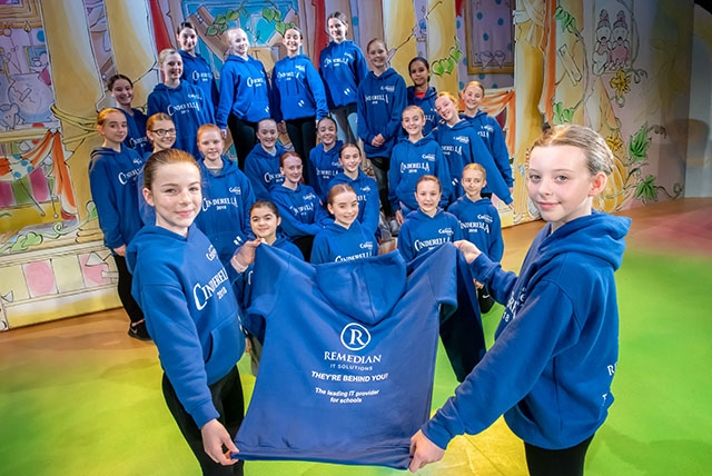 Cinderella's chorus pictured with their sponsored outfits.