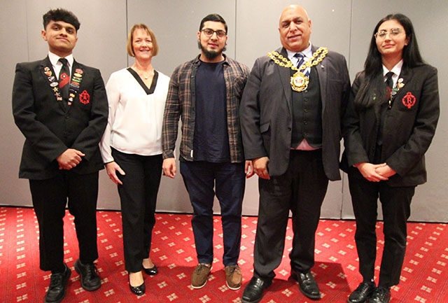 Pictured at Radclyffe's presentation evening are Head Boy Tahmeed Mahmood, Chair of Governors Sue Webb, Atiqur Rahman, Mayor of Oldham Councillor Javid Iqbal and Head Girl Sarah Nazir