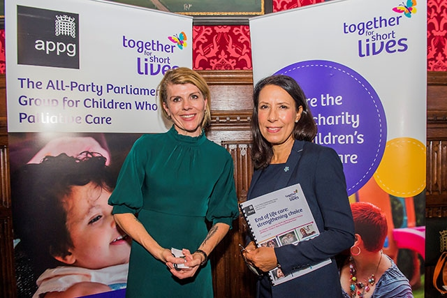 MP Debbie Abrahams (right) met Steph Nimmo, blogger and author of the book 'Was this in the plan?', at the Westminster launch of the all party report 'Children who need palliative care'