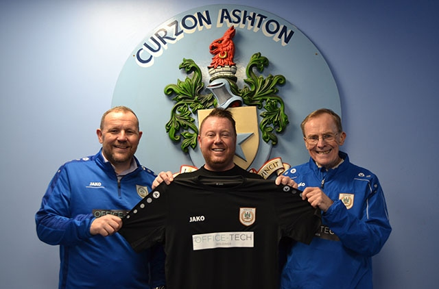 Jay Dixon (centre), from Office-Tech Holdings, marks the new sponsorship deal at Curzon Ashton