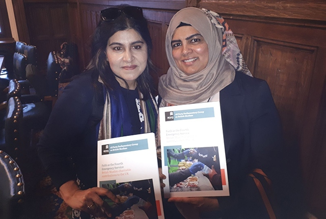Oldham's fourth emergency service: Baroness Warsi pictured with UKEFF co-founder Hafizan Zaman at the House of Lords recently