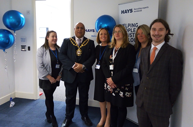 The team at Hays in Oldham pictured during a recent open day with the Mayor of Oldham, Councillor Javid Iqbal
