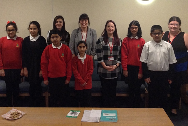 Pictured (left to right): Aysha Arooj, Malyka Alyas, Youth Mayor Amber Powell, Mrs Seabright, Mrs Griffin, Fiza Khalid, Sameer Ali and Mrs Hickling. Front two: Taha Bilal and Aizah Noor
