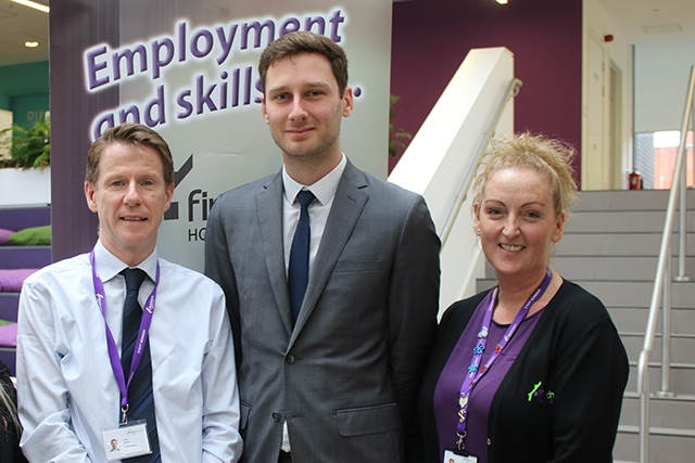 Pictured from left to right: Vinny Roche, Chief Executive of First Choice Homes Oldham, Cllr Sean Fielding, Leader of Oldham Council and Mary Brooks, receptionist at First Choice Homes Oldham