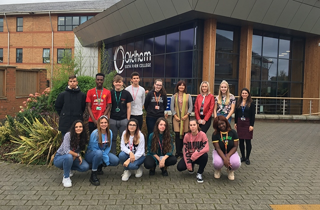 The students outside Oldham Sixth Form College