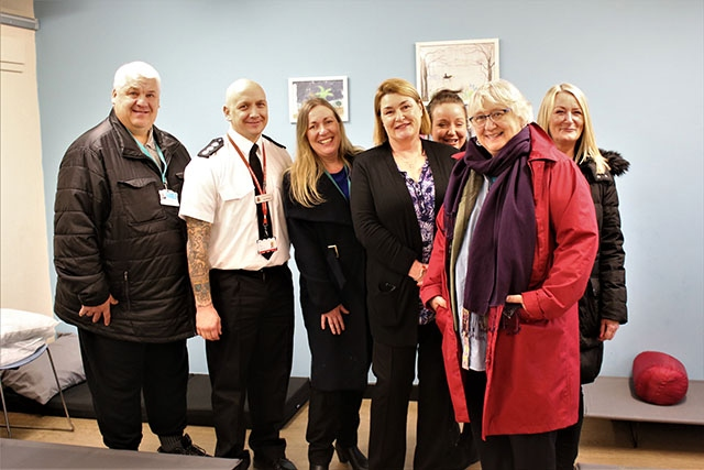 Pictured at the open house event at the night shelter are (left to right): Oldham Councillor Peter Davies, Oldham Fire Station Manager Tony Morgan, Oldham Senior Housing Needs Officer Moira Fields, Depaul UK Manager for Oldham Winter Night Shelter Yvonne O'Mara, Depaul UK Oldham Pathway Manager Suzie Burn, Oldham Councillor Hannah Roberts and Suzanne Fields from First Choice Homes Oldham