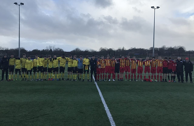 Chadderton Park under-16s Griffins line up alongside their Erskine Youth counterparts