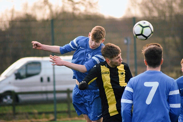 Hopwood Hall's Adam Knott scores the only goal against York