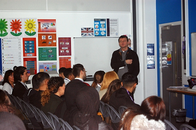 John Tague speaks to Enterprise and Business students at Oldham College
