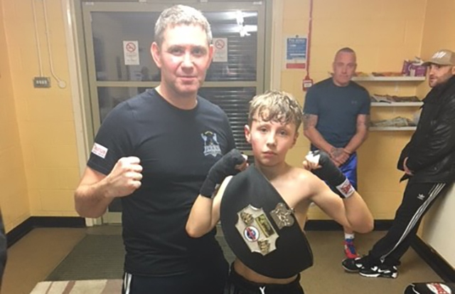 Tommy Lowe with his trainer at the Isaan Gym, Steve Donnelly