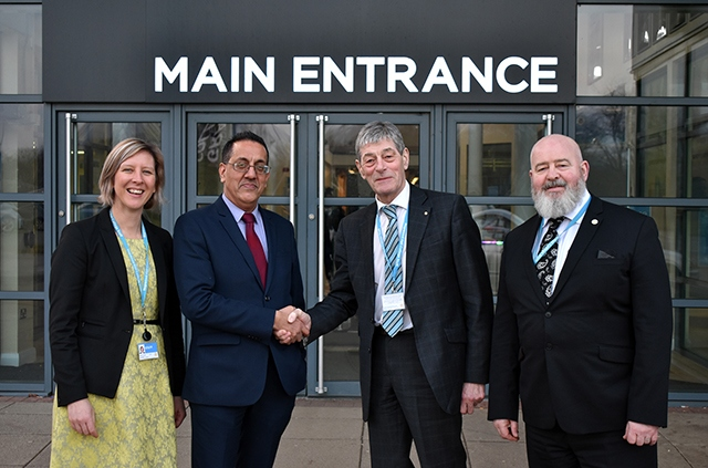 L-R: Hopwood Hall College Assistant Principal - Julia Heap, Nazir Afzal OBE, Robert Clegg and Hopwood Hall College Principal, Derek O'Toole