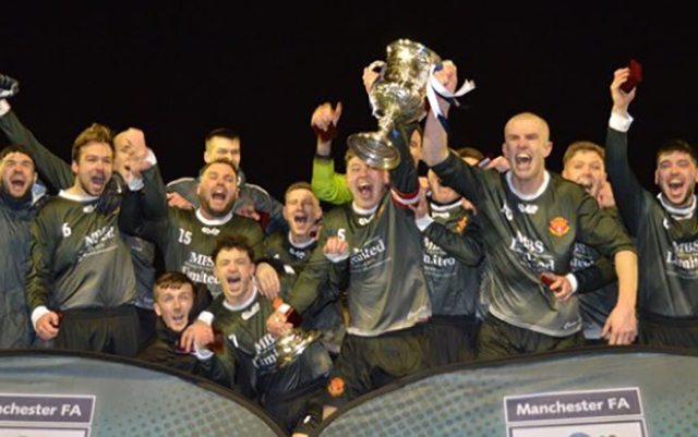 Avro celebrate their Manchester FA Saturday Challenge Trophy success.