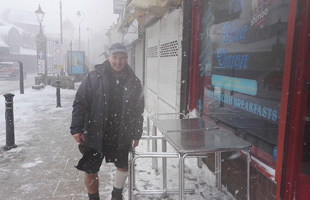 Geoff Mallitt was determined to open up the Blue Onion cafe as normal this morning, despite the horrendous weather conditions