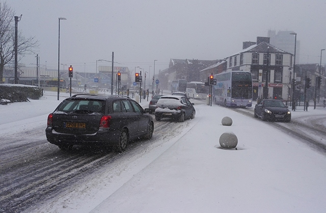 Oldham town centre has been badly affected by snow this morning
