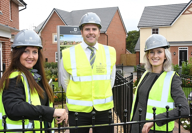 Women can build a successful career in construction. Pictured (left to right) are Dianne Mappin (Barratt sales adviser), Andrew Couch (assistant site manager) and Elaine Caulfield (sales manager)