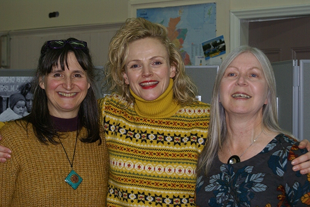 Maxine Peake (centre) supported the Saddleworth Palestine Women's Scholarship Fund event