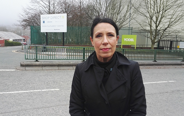 Oldham East and Saddleworth MP Debbie Abrahams outside Shop Direct's Shaw warehouse on Linney Lane