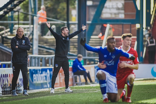 Athletic manager Richie Wellens reacts on the touchline against Gillingham.