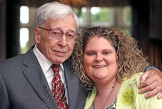Louise Brown with 'grandfather' Professor Sir Robert Edwards pictured in 2013