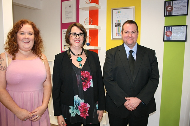 LLK Managing Director Linda Lewis is flanked by (left) Dealer Account Manager Natalie White and Financial Director, Joe Solomon