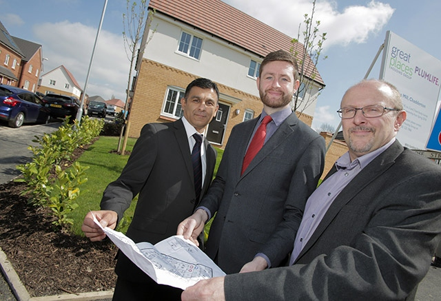 MP Jim McMahon with Pete Bojar, Executive Director for Growth and Assets for Manchester-based Great Places, and Neighbourhood Manager Masood Chaudry, at the new Rose Mill housing development