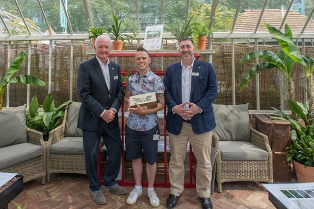 Pictured at the RHS Chelsea Flower Show are (left to right): Martin Toogood, Chairman of Hartley Botanic, Lee Burkhill of �the Garden Ninja� (tradestand garden designer) and Tom Barry, Managing Director of Hartley Botanic
