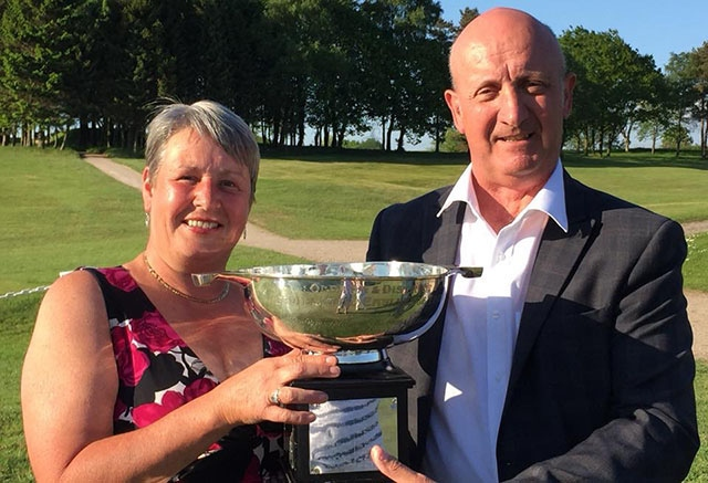 Chronicle Cup winner Louise Hinchliffe with David Whaley, secretary of the Oldham and District Golf Society