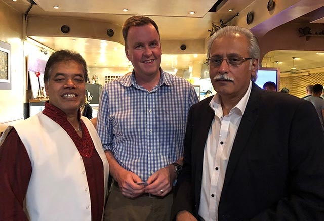 Cllr Abdul Malik, John Dalziel from Oldham Hulme school and M Parwez pictured at the 'Big Iftar' at Cafe Lahore.