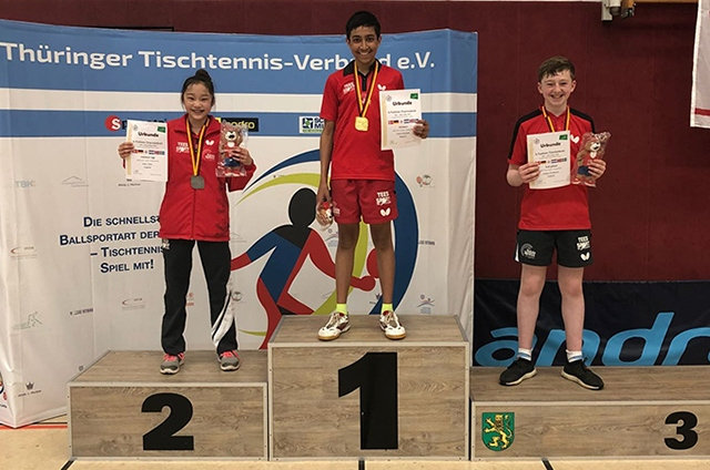 Oldham's Amirul Hussain tops the podium at the Cadet 6 Nations tournament in Germany