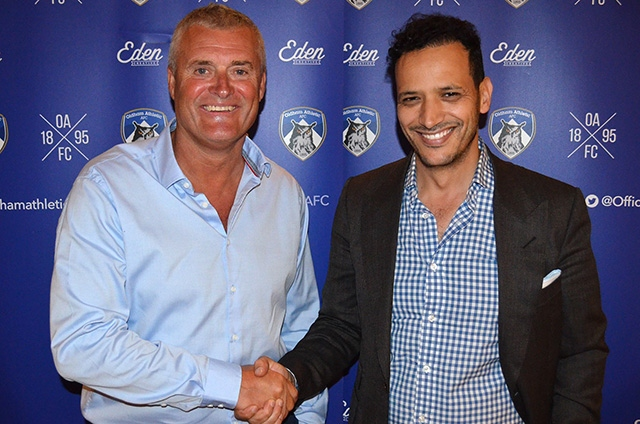 WELCOME ABOARD: New Athletic boss Frankie Bunn with owner Abdallah Lemsagam