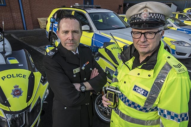 Pictured (left to right): Ben Levy, GMFRS Group Manager and Sergeant John Brennan, GMP Road Policing Unit