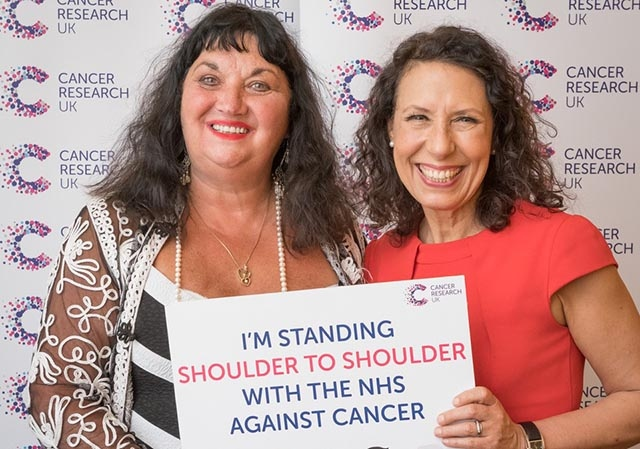 Debbie Abrahams, MP for Oldham East and Saddleworth, along with Cancer Campaigns Ambassador and constituent Dr Nicola Jeffery-Sykes, from Uppermill. They pledged to stand 'shoulder to shoulder' with the NHS against cancer at the Westminster launch of Cancer Research UK's new campaign