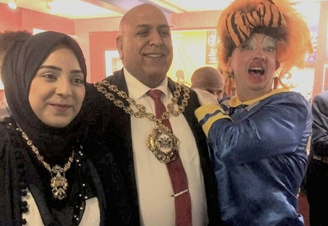 Dame Trot surprises the Mayor of Oldham, Councillor Javid Iqbal