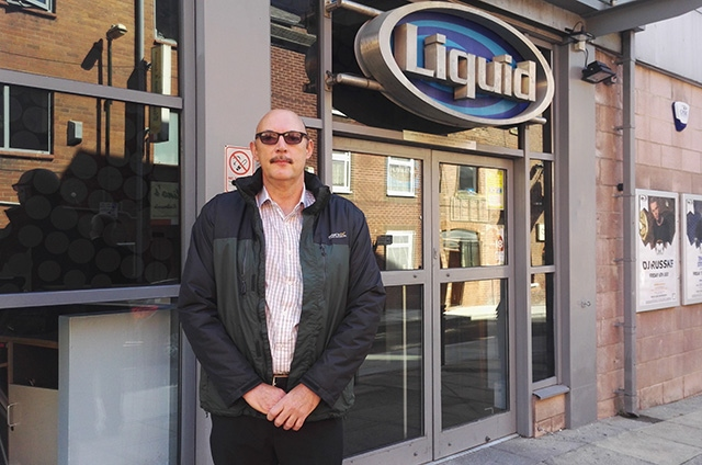 Martin Hickey - father of attack victim Thomas Hickey - pictured outside the Liquid Envy nightclub today