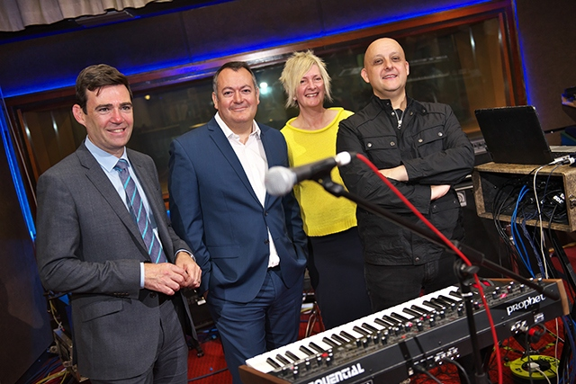 Pictured (left to right) are: Greater Manchester Mayor Andy Burnham, Ged Doherty, Karen Boardman and Inspiral Carpets' bass player Martyn Walsh