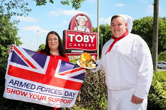 Toby Carvery General Manager Hannah Roper and Chef Chris Mills officially launch the FREE meal offer for Armed Forces Day 2018