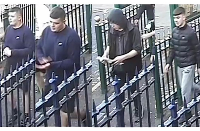 British Transport Police would like to speak to these youths in connection with an assault that knocked a woman unconscious on the platform of Mossley rail station