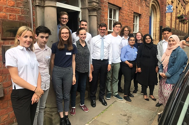 Andy Burnham is pictured at MP Debbie Abrahams' fifth annual summer school