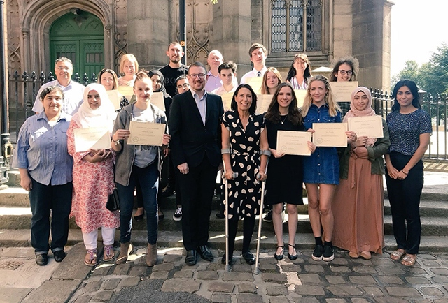 Pictured (left to right) are: Marzia Babakarkhail (staff), John Abrahams (speaker), Hafizan Zaman (UKEFF), Anna (Action Together), Sue Fletcher (Age UK), Catherine Stott, Sabha Ijaz, Sam Hughes, Kainat Muzzafar, Andrew Gwynne MP, Bryn Hughes (PC Nicola Hughes Fund), Josh Hewitt, Debbie Abrahams MP, Gareth Curzon, Maeve Glenn, Phoebe Price, Julie Bradbury (Positive Steps), Jess Fowler, Harry Townsend, Omairia Bibi, Sabah Kanwal (staff).