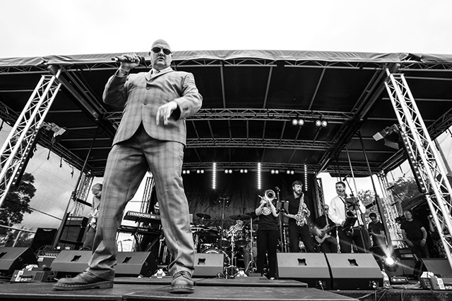 Lee Hollister and Manchester Ska Foundation in full flow at the Macclesfield Festival.