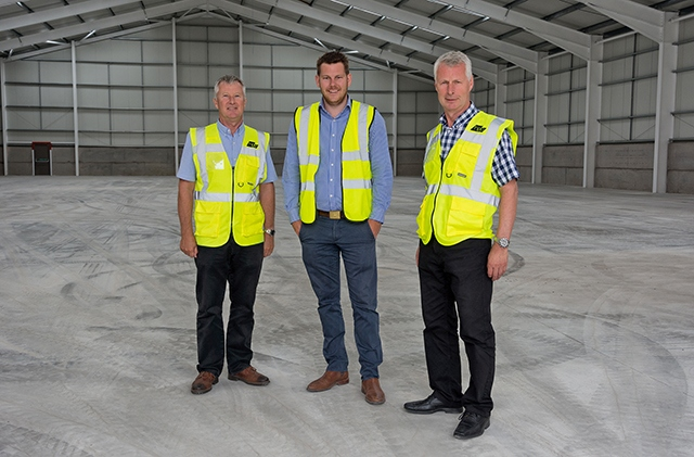 Pictured (left to right) at the new HPP warehouse are Martin Hill, Karl Parker and Stephen Hill
