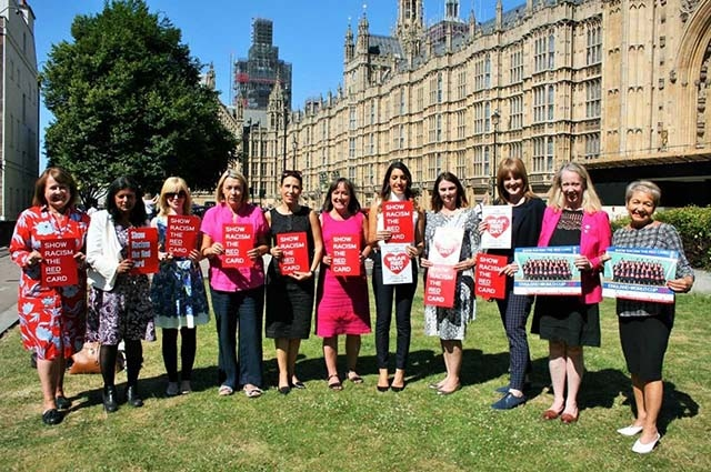 The MPs joining Debbie Abrahams in supporting Show Racism the Red Card are, left to right: Thelma Walker, Rupa Huq, Rosie Duffield, Barbara Keeley, Debbie Abrahams, Rosena Allin-Khan, Melanie Onn, Sarah Jones, Liz McInnes, Rosie Winterton.
