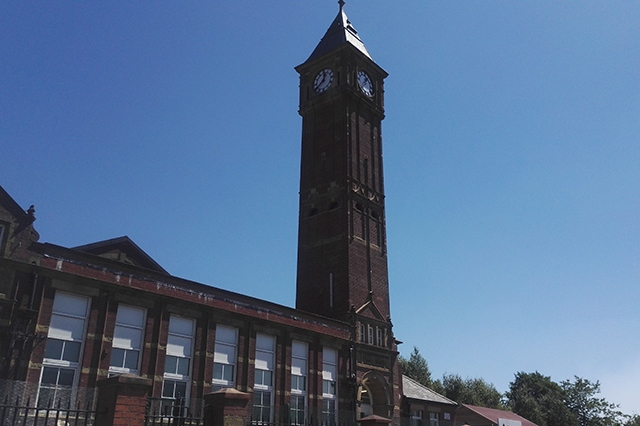 The clock tower at Werneth Primary School is now back to its former glory