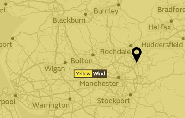 Yellow weather warning issued for Oldham